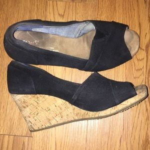 Black Toms Open-Toe Wedges